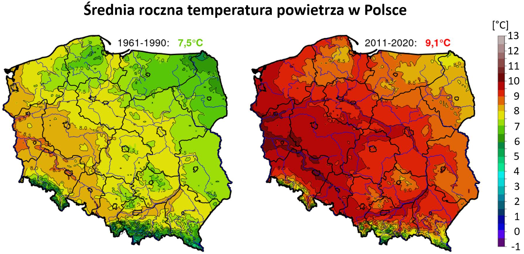 Mapy: średnia temperatura roczna w Polsce w okresie 1961-1990 i 2011-2020