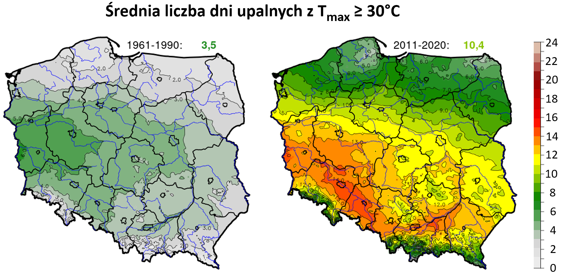 Mapy: liczba dni w roku z temperaturą maksymalną  ≥30°C w Polsce w okresie 1961-1990 i 2011-2020