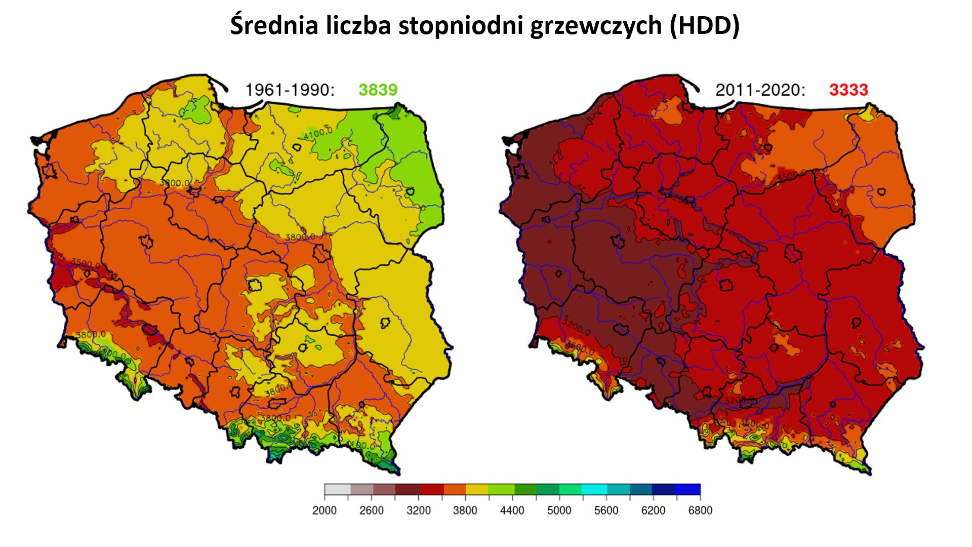 Mapy: liczba stopniodni grzewczych (Heating Degree Days, HDD)  w Polsce w okresie 1961-1990 i 2011-2020