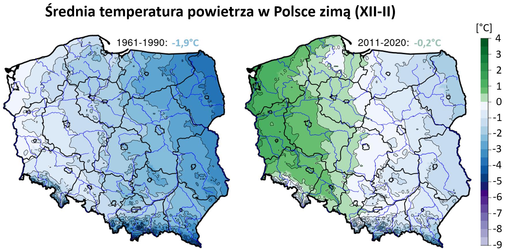Mapy: średnia temperatura powietrza zimą w Polsce w okresie 1961-1990 i 2011-2020