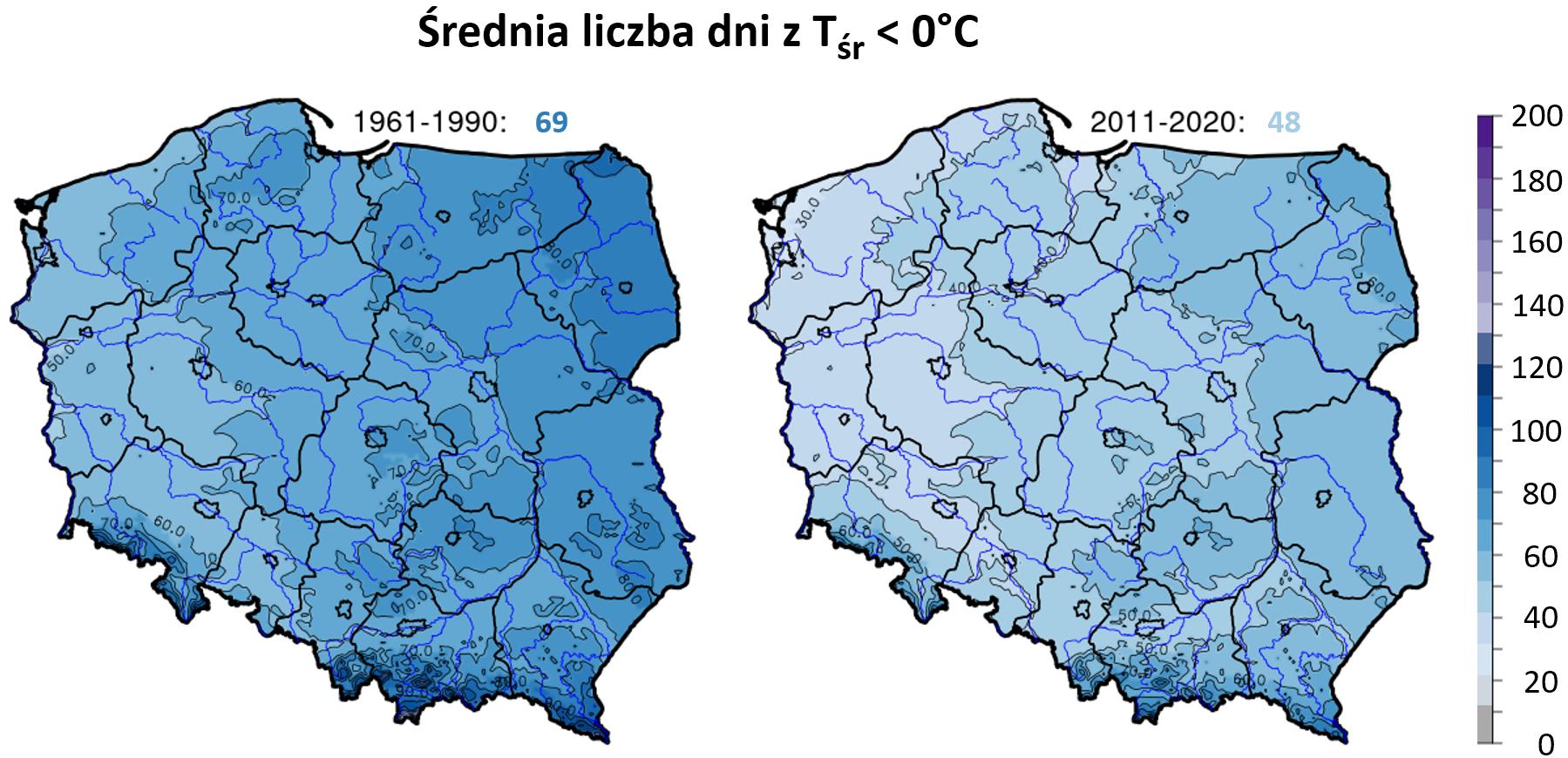 Mapy: liczba dni w roku ze średnią temperaturą dobową <0°C  w Polsce w okresie 1961-1990 i 2011-2020