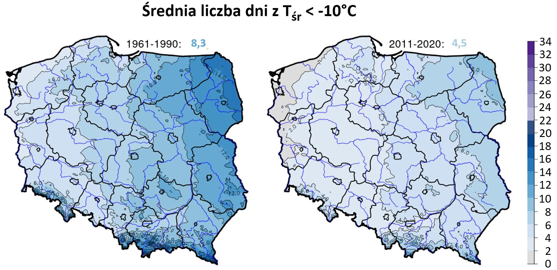 Po lewej: liczba dni ze średnia temperaturą dobową < -10°C w okresie 1961-1990, po prawej w latach 2011-2020