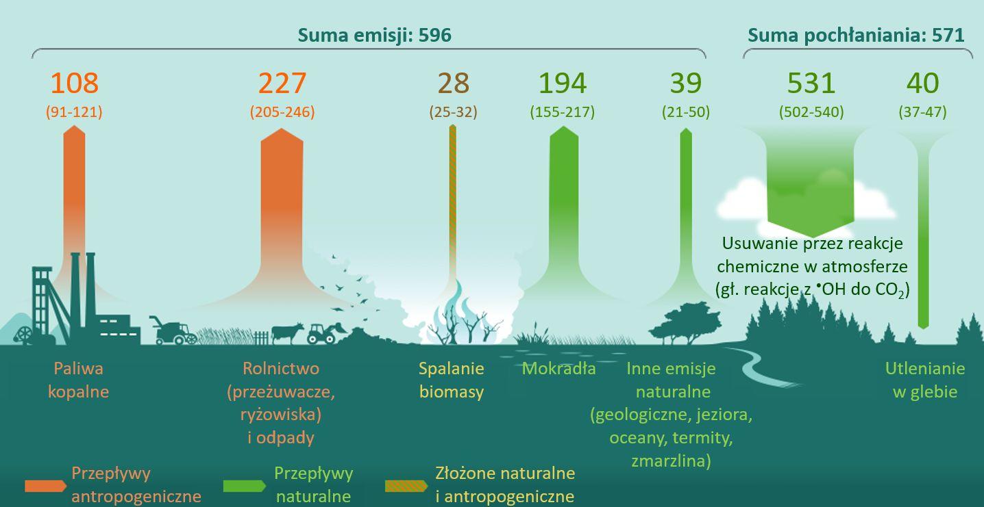 Globalny bilans emisji i usuwania metanu.