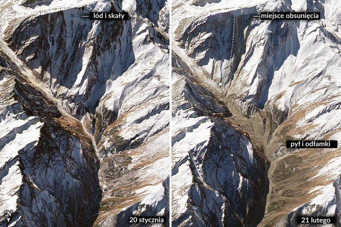 Zdjęcia: Uttarakhand przed i po katastrofie. Widoczny teren górski z doliną, na drugim zdjęciu widać warstwę nowego materiału skalnego na dnie doliny.