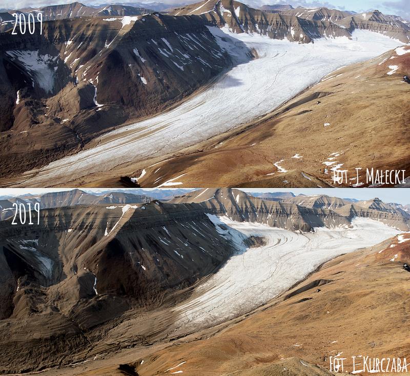 Zdjęcia: lodowiec Bertil w 2009 i 2019 roku, widać podłużny jęzor lodowy między zboczami gór, na drugim zdjęciu jest krótszy.