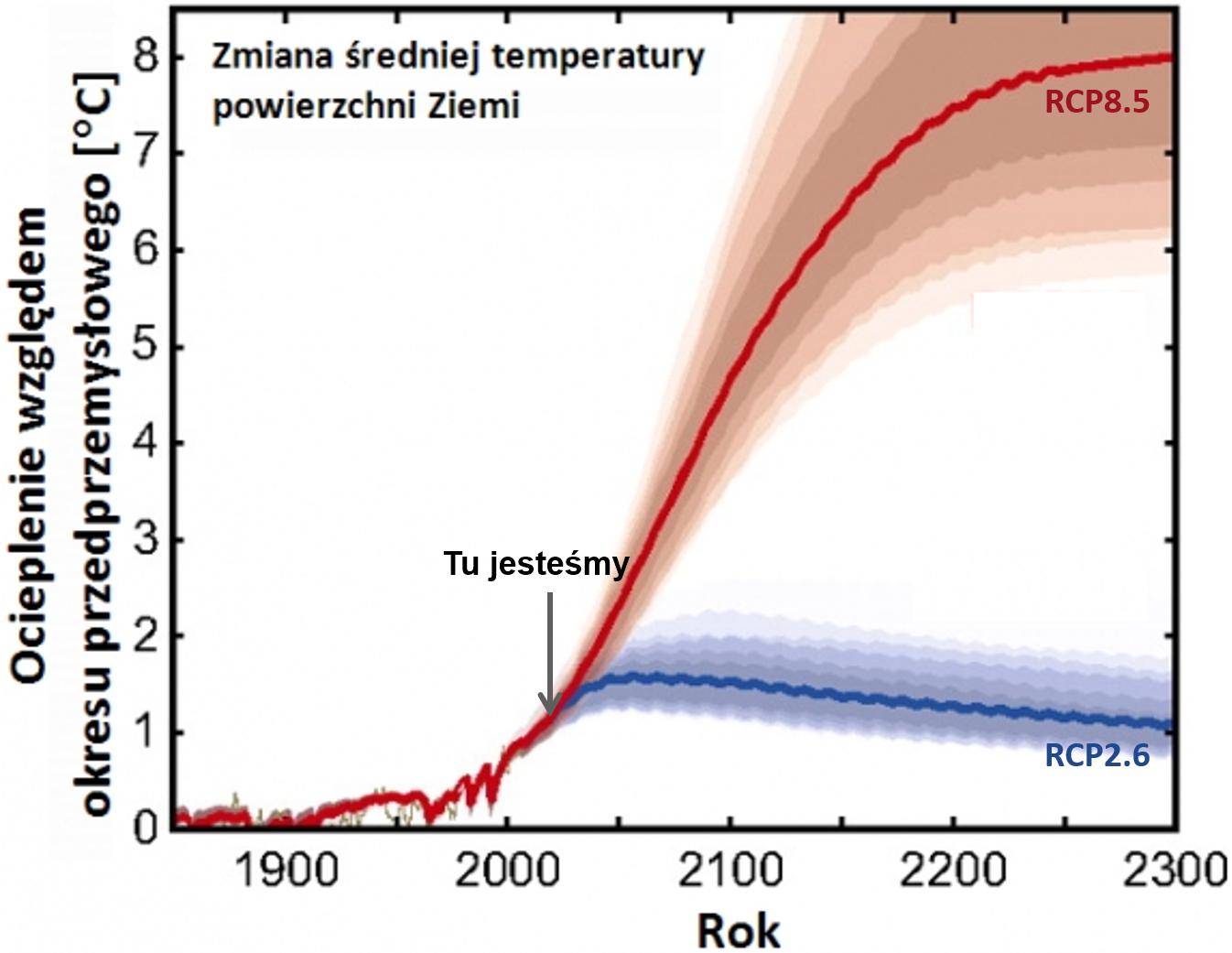Wykres: zmiany temperatury w przykładowych scenariuszach emisji. W RCP8.5 temperatura rośnie do 2300 (po 2100 coraz wolniej), w RCP2.6 od 2050 temperatura powoli spada.