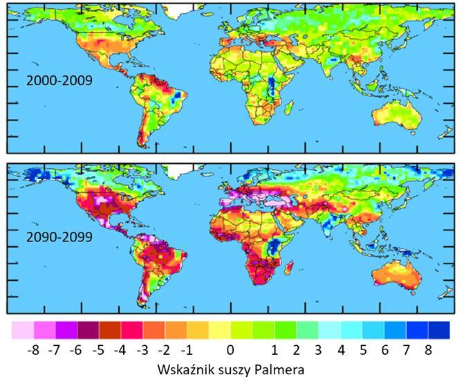apy potencjalnego zagrożenia suszami, początek i koniec XXI wieku.