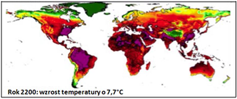 Szacowane średnie dzienne maksymalne temperatury wilgotnego termometru podczas najcieplejszego miesiąca w roku w scenariuszu Biznes-jak-zwykle w 2200 r.