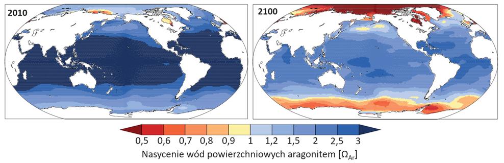 Mapy:  Nasycenie wód powierzchniowych aragonitem w różnych rejonach świata w 2100 roku w scenariuszu RCP8.5