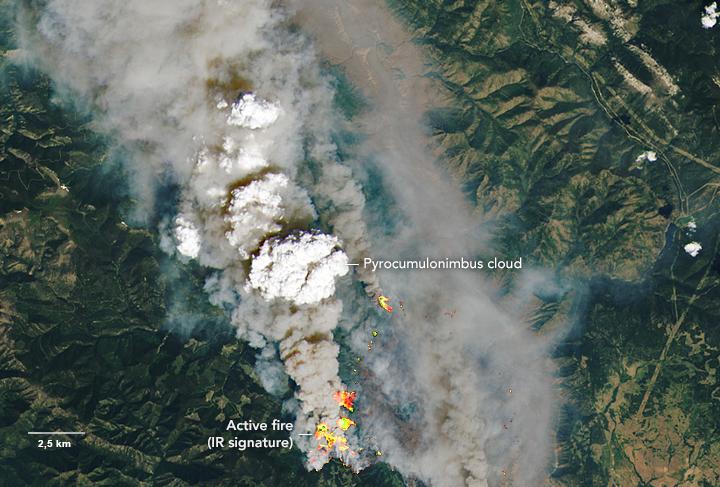 Zdjęcie satelitarne: dymy z pożaru w okolicach McKay Creek, widać grube kłęby dymu pokrywające wielki obszar.