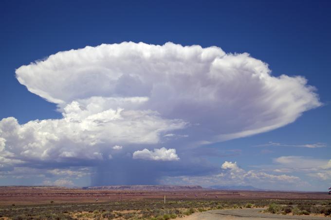 Zdjęcie: chmura burzowa, widać rozbudowaną w pionie i rozlewającą się na górze na boki masę chmur, pod jej środkiem smugi opadu.