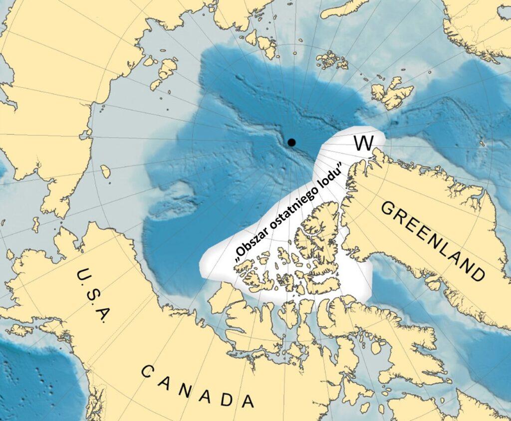 Mapa Arktyki, na której zaznaczone jest Morze Wandela.