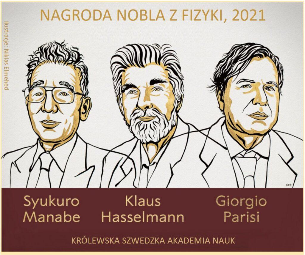Nobel z fizyki 2021: rysunkowy portret laureatów nagrody Nobla. Od lewej: Syukuro Manabe, Klaus Hasselmann, Giorgio Parisi.