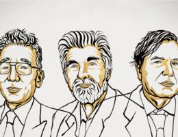 Rysunkowy portret laureatów Nagrody Nobla z fizyki - Manabe, Hasselmanna i Parisiego.